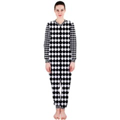 Black And White Scallop Repeat Pattern Onepiece Jumpsuit (ladies)