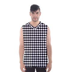 Black And White Scallop Repeat Pattern Men s Basketball Tank Top