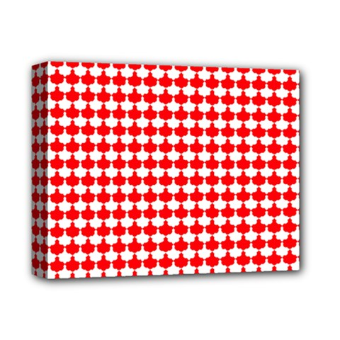 Red And White Scallop Repeat Pattern Deluxe Canvas 14  x 11