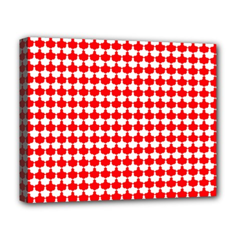 Red And White Scallop Repeat Pattern Deluxe Canvas 20  x 16