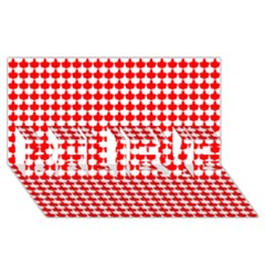 Red And White Scallop Repeat Pattern BELIEVE 3D Greeting Card (8x4)