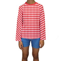Red And White Scallop Repeat Pattern Kid s Long Sleeve Swimwear
