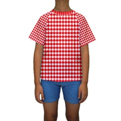 Red And White Scallop Repeat Pattern Kid s Short Sleeve Swimwear
