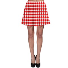 Red And White Scallop Repeat Pattern Skater Skirts