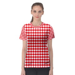 Red And White Scallop Repeat Pattern Women s Sport Mesh Tees