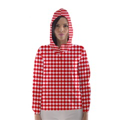 Red And White Scallop Repeat Pattern Hooded Wind Breaker (Women)