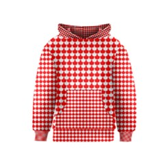 Red And White Scallop Repeat Pattern Kid s Pullover Hoodies