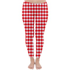 Red And White Scallop Repeat Pattern Winter Leggings