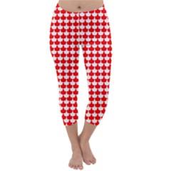 Red And White Scallop Repeat Pattern Capri Winter Leggings