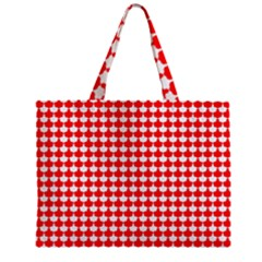 Red And White Scallop Repeat Pattern Zipper Tiny Tote Bags
