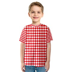 Red And White Scallop Repeat Pattern Kid s Sport Mesh Tees