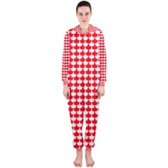 Red And White Scallop Repeat Pattern Hooded Jumpsuit (Ladies)