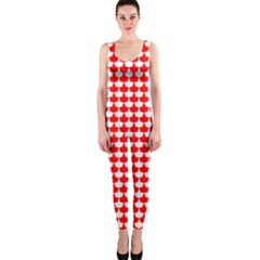 Red And White Scallop Repeat Pattern Onepiece Catsuits