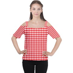 Red And White Scallop Repeat Pattern Women s Cutout Shoulder Tee