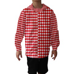Red And White Scallop Repeat Pattern Hooded Wind Breaker (kids)