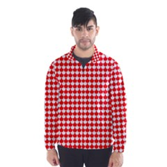 Red And White Scallop Repeat Pattern Wind Breaker (men)