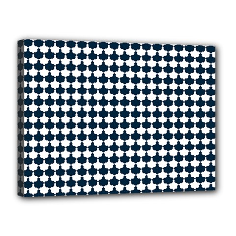 Navy And White Scallop Repeat Pattern Canvas 16  x 12