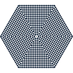 Navy And White Scallop Repeat Pattern Mini Folding Umbrellas