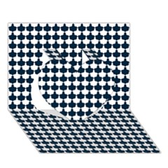 Navy And White Scallop Repeat Pattern Heart 3d Greeting Card (7x5)
