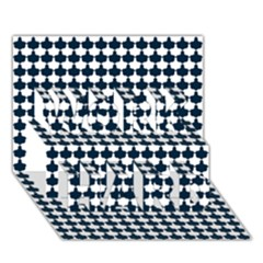 Navy And White Scallop Repeat Pattern WORK HARD 3D Greeting Card (7x5)