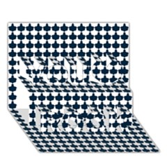 Navy And White Scallop Repeat Pattern You Rock 3D Greeting Card (7x5)