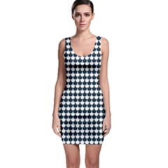 Navy And White Scallop Repeat Pattern Bodycon Dresses