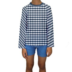 Navy And White Scallop Repeat Pattern Kid s Long Sleeve Swimwear