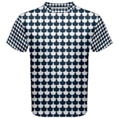 Navy And White Scallop Repeat Pattern Men s Cotton Tees