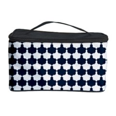 Navy And White Scallop Repeat Pattern Cosmetic Storage Cases