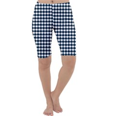 Navy And White Scallop Repeat Pattern Cropped Leggings