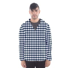 Navy And White Scallop Repeat Pattern Hooded Wind Breaker (Men)