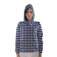 Navy And White Scallop Repeat Pattern Hooded Wind Breaker (Women)
