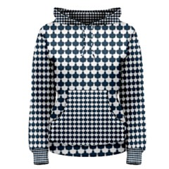 Navy And White Scallop Repeat Pattern Women s Pullover Hoodies