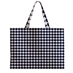 Navy And White Scallop Repeat Pattern Zipper Tiny Tote Bags