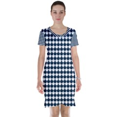 Navy And White Scallop Repeat Pattern Short Sleeve Nightdresses
