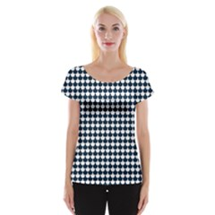 Navy And White Scallop Repeat Pattern Women s Cap Sleeve Top