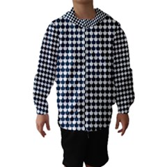 Navy And White Scallop Repeat Pattern Hooded Wind Breaker (Kids)