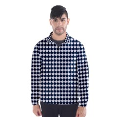 Navy And White Scallop Repeat Pattern Wind Breaker (Men)