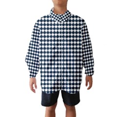Navy And White Scallop Repeat Pattern Wind Breaker (Kids)