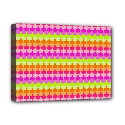Scallop Pattern Repeat In 'la' Bright Colors Deluxe Canvas 16  x 12