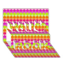 Scallop Pattern Repeat In 'la' Bright Colors You Rock 3D Greeting Card (7x5)