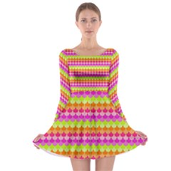 Scallop Pattern Repeat In 'la' Bright Colors Long Sleeve Skater Dress