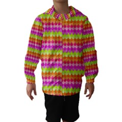 Scallop Pattern Repeat In 'la' Bright Colors Hooded Wind Breaker (Kids)