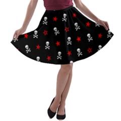 Stars, Skulls & Crossbones A Line Skater Skirt