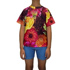 BUNCH OF FLOWERS Kid s Short Sleeve Swimwear
