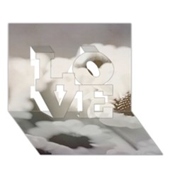 BLACK AND WHITE FLOWER LOVE 3D Greeting Card (7x5)