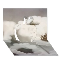 BLACK AND WHITE FLOWER Apple 3D Greeting Card (7x5)