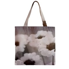 Black And White Flower Zipper Grocery Tote Bags
