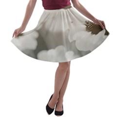 BLACK AND WHITE FLOWER A-line Skater Skirt