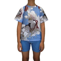 APRICOT BLOSSOMS Kid s Short Sleeve Swimwear